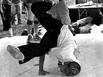 Dan Ferro breakdancing @ College Park, from their school paper.
